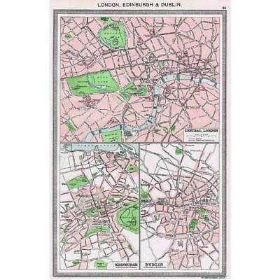 Antique Map 1906 - London, Edinburgh, Dublin Street Plans - Harmsworth Atlas