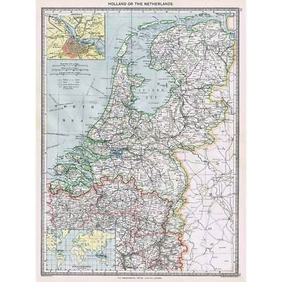 Antique Map 1906 - Holland / Netherlands - Harmsworth Atlas