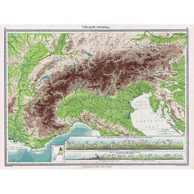 Antique Map 1906 - The Alps - Physical - Harmsworth Atlas