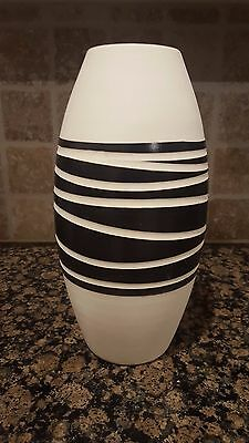 "Modern Art Deco Black Ceramic vase 15"" x 8"" - zebra"