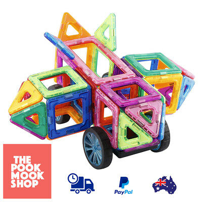 44-Piece Magnetic Tiles Create Build Toy Cubes Pyramid Shape Creativity Play Kid