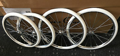 "Set of 4 SILVER CROSS KENSINGTON COACH BUILT PRAM WHEELS + TYRE SIZES 14""  16"""