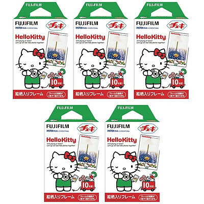 5 Packs 50 Photos Hello Kitty FujiFilm Fuji Instax Mini Film Polaroid 7S 8 SP-1