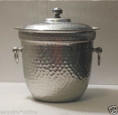 Ice Bucket metal with lid (double wall) dented surface design
