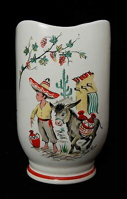 Vintage Crown Ducal Ware Vase with Boy and Donkey