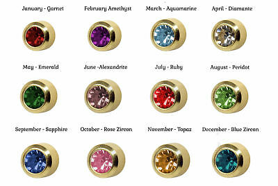 Caflon Birthstones 24CT Gold Plated - Piercing Studs  (12 Pack)