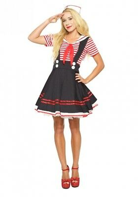 (Large) - Seeing Red Inc. Womens Women's Retro Sailor Girl Fancy dress costume
