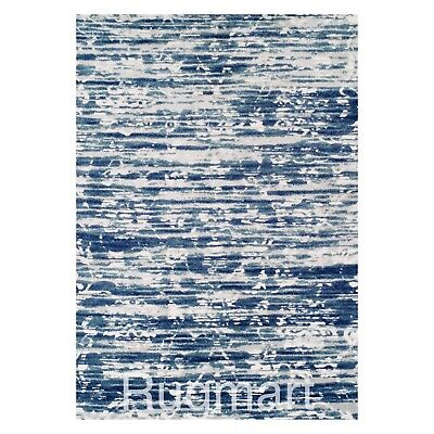 BLUE GREY WHITE Vintage Modern Contemporary Heavy Quality Easy care NONSHED Rug