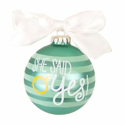 Coton Colors Teal Striped Christmas Tree Bauble She Said Yes & Just Engaged