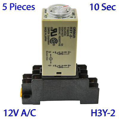 (5 PCs) H3Y-2 Omron 12VAC Timer Relay DPDT 8 Pin 5A (10 Sec) with Socket Base