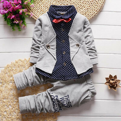 819857d83 Infant Kids Baby Boys Clothes Clothing Outfits Sets Page Boy Bow Tie Party  Suits