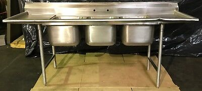 Advance Tabco 3 Compartment Stainless Steel Sink 93-3-54-18RL w/ 2 Drainboards