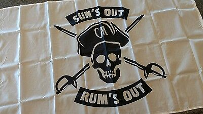 New Large Jolly Roger Captain Morgan Flag Banner Suns Out Rums Out 3' x 5'
