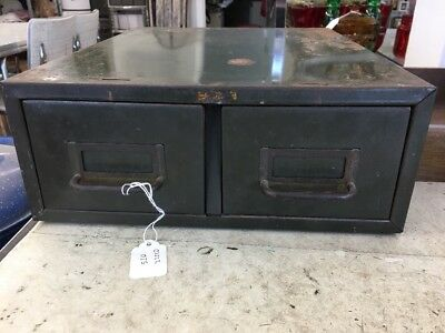 Vintage Green Two Drawer File Card Industrial Metal Cabinet Organizer Great Look