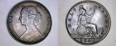 1861 Great Britain Half (1/2) Penny World Coin - UK - England - 4 Berries