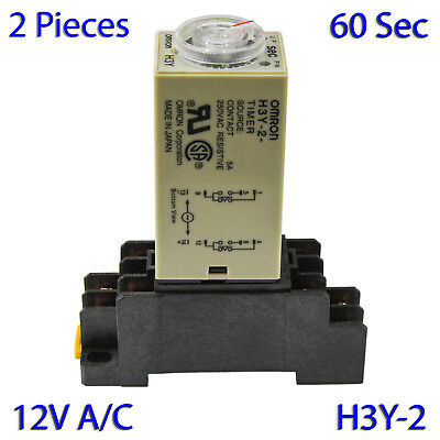 (2 PCs) H3Y-2 Omron 12VAC Timer Relay DPDT 8 Pin 5A (60 Sec) with Socket Base