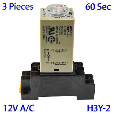 (3 PCs) H3Y-2 Omron 12VAC Timer Relay DPDT 8 Pin 5A (60 Sec) with Socket Base