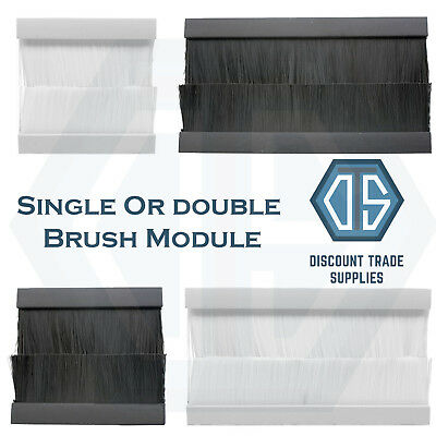 Euro Module Brush Cable Entry Clip-In Insert for 2G & 4G Wall Outlet Black White