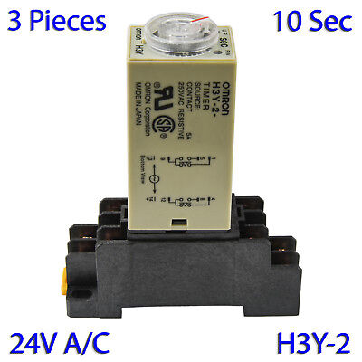 (3 PCs) H3Y-2 Omron 24VAC Timer Relay DPDT 8 Pin 5A (10 Sec) with Socket Base