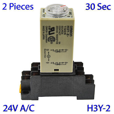 (2 PCs) H3Y-2 Omron 24VAC Timer Relay DPDT 8 Pin 5A (30 Sec) with Socket Base
