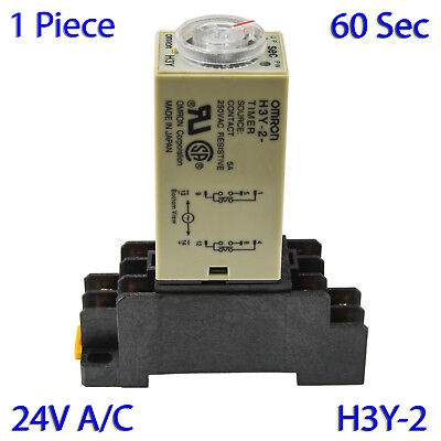 (1 PC) H3Y-2 Omron 24VAC Timer Relay DPDT 8 Pin 5A (60 Sec) with Socket Base