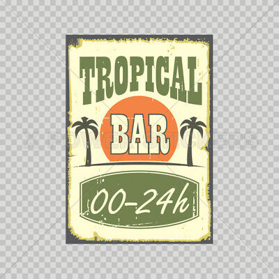 Sticker Decal Tropical Bar Vintage Sign Bicycle Vinyl 0500 12211