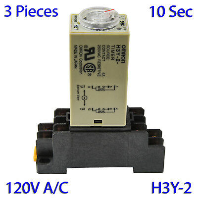 (3 PCs) H3Y-2 Omron 120VAC Timer Relay DPDT 8 Pin 5A (10 Sec) with Socket Base