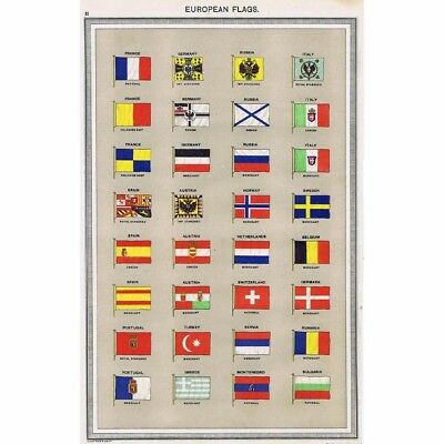 Antique Print 1906 - European Merchant Flags and Imperial Standards