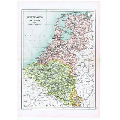 Antique Map 1910 - Netherlands and Belgium by Bartholomew from Cassells Atlas