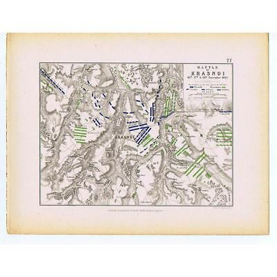 RUSSIA Battle of Krasnoi (Krasny) 1812 - French & Russian Lines - Map 1875