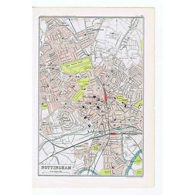 NOTTINGHAM - City / Town / Street Plan - Antique Map 1904 by Bartholomew