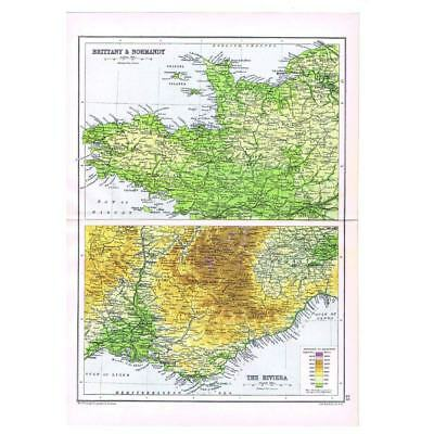 Antique Map 1910 - Brittany, Normandy and The Riviera by Bartholomew