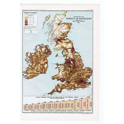 BRITAIN Density of Population in the UK in 1901- Antique Map 1904 by Bartholomew