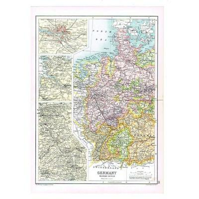Antique Map 1910 - Germany (West) by Bartholomew, Inset of Hamburg, Frankfurt