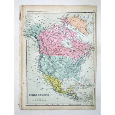 NORTH AMERICA United States, Canada, Mexico - Antique Map 1880 by Bacon