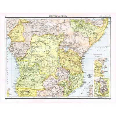 CENTRAL AFRICA European Possessions; Shire Highlands - Antique Map 1894