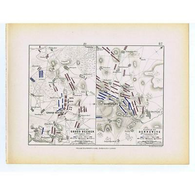 GERMANY Battles of Grossbeeren and Dennewitz 1813 - Antique Map 1875