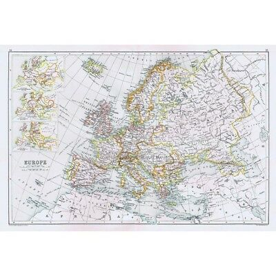 EUROPE With Border changes over time - Antique Map 1891 by Bartholomew