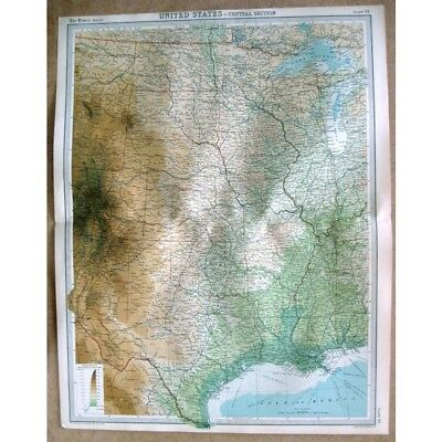UNITED STATES Central States - Vintage Map 1922 by Bartholomew