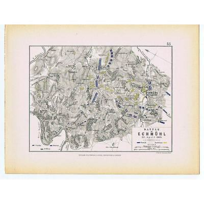 GERMANY Battle of Eckmuhl 1809 (Bavaria) French and Austrian Positions- Map 1875