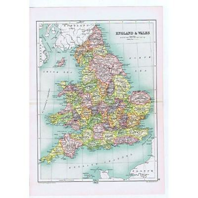 Antique Map 1910 - England and Wales by John Bartholomew from Cassells Atlas