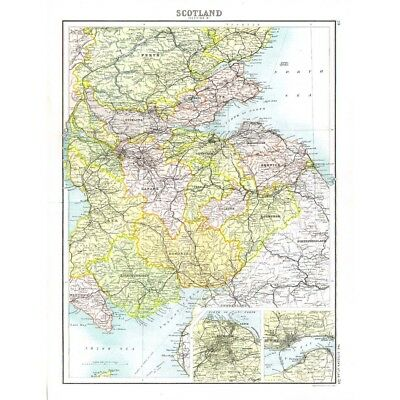 SCOTLAND Lowlands with Edinburgh, Dundee Insets-Antique Map 1894 by Bartholomew