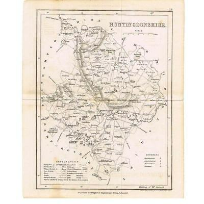 Antique Map c1840 - Huntingdonshire Engraved by Archer for Dugdales