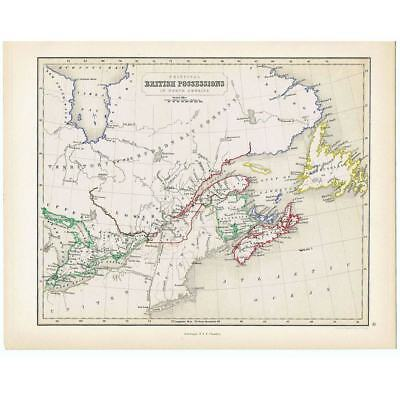 Antique Coloured Map 1846 - BRITISH POSSESSIONS in AMERICA by Gellatly-Chambers
