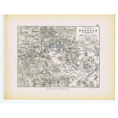 GERMANY Battle of Bautzen 1813 French & Russian/Prussian Lines- Antique Map 1875