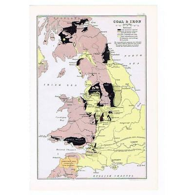 BRITAIN Locations of Coal and Ironworks - Antique Map 1904 by Bartholomew