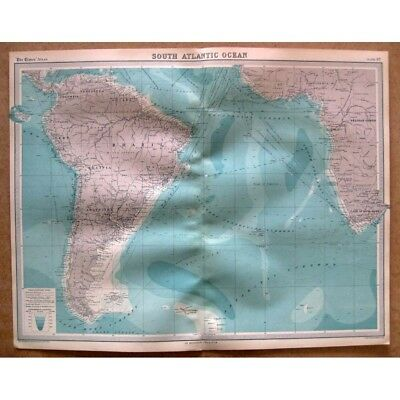 SOUTH ATLANTIC OCEAN with Shipping Routes - Vintage Map 1922 by Bartholomew