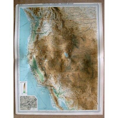 UNITED STATES Western States; inset of Yosemite Valley - Vintage Map 1922