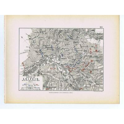 GERMANY Battle of Leipzig 1813-French and Allied Lines Sheet 1 -Antique Map 1875