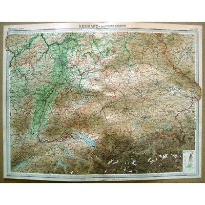 GERMANY Southern Section - Vintage Map 1922 by Bartholomew